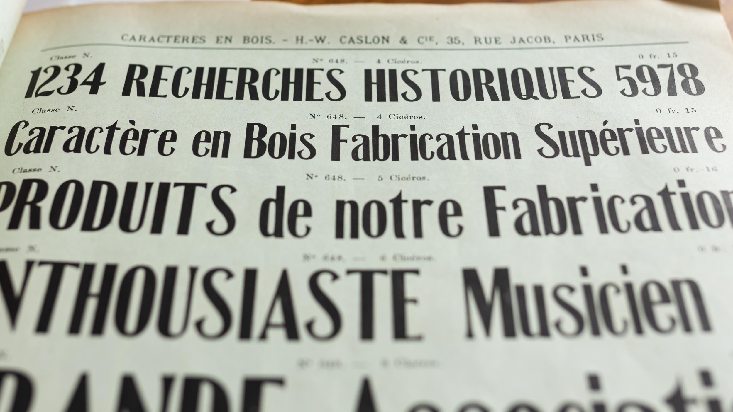Spécimen des caractères Hamilton pour le marché français.