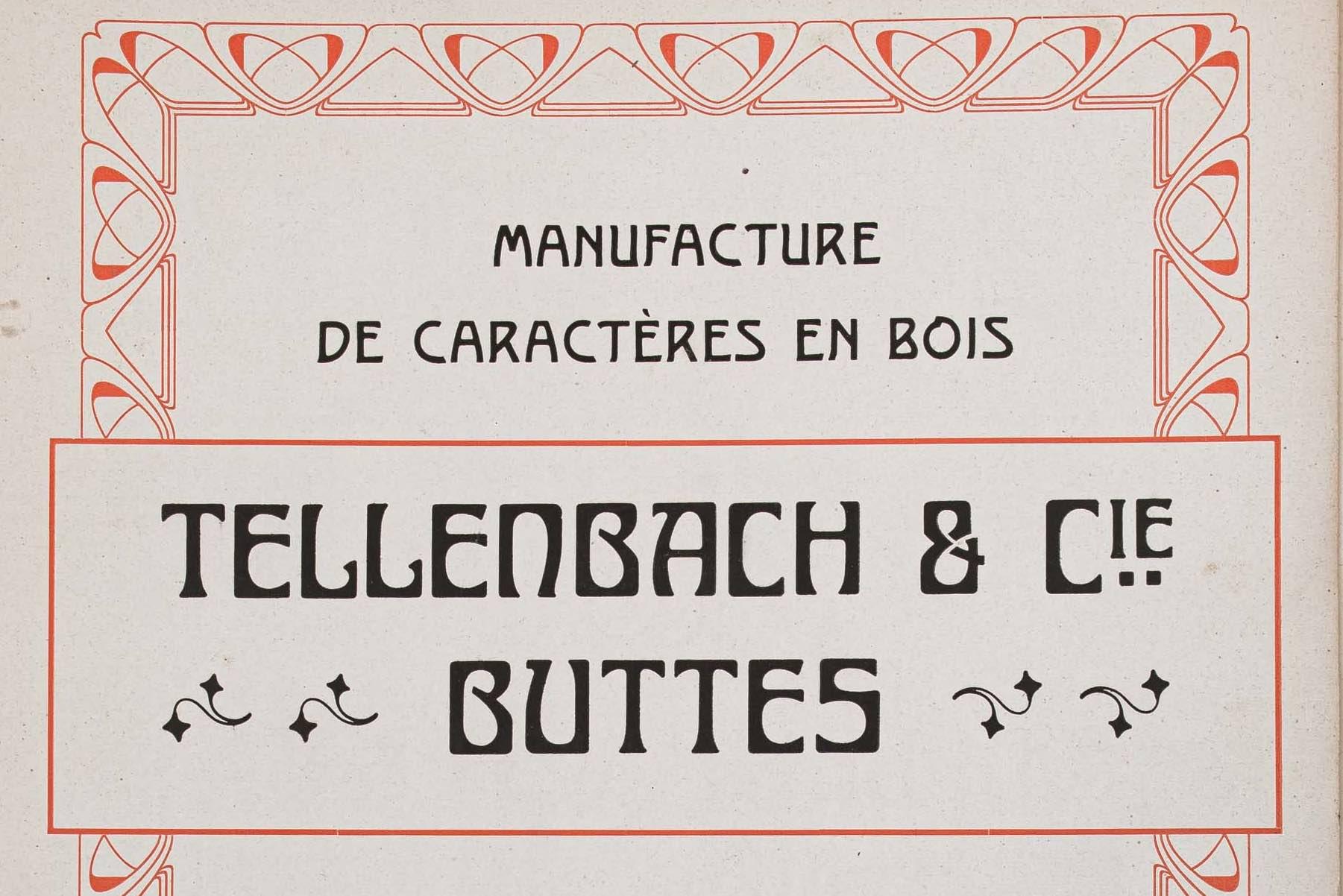 Spécimen des caractères en bois Tellenbach.